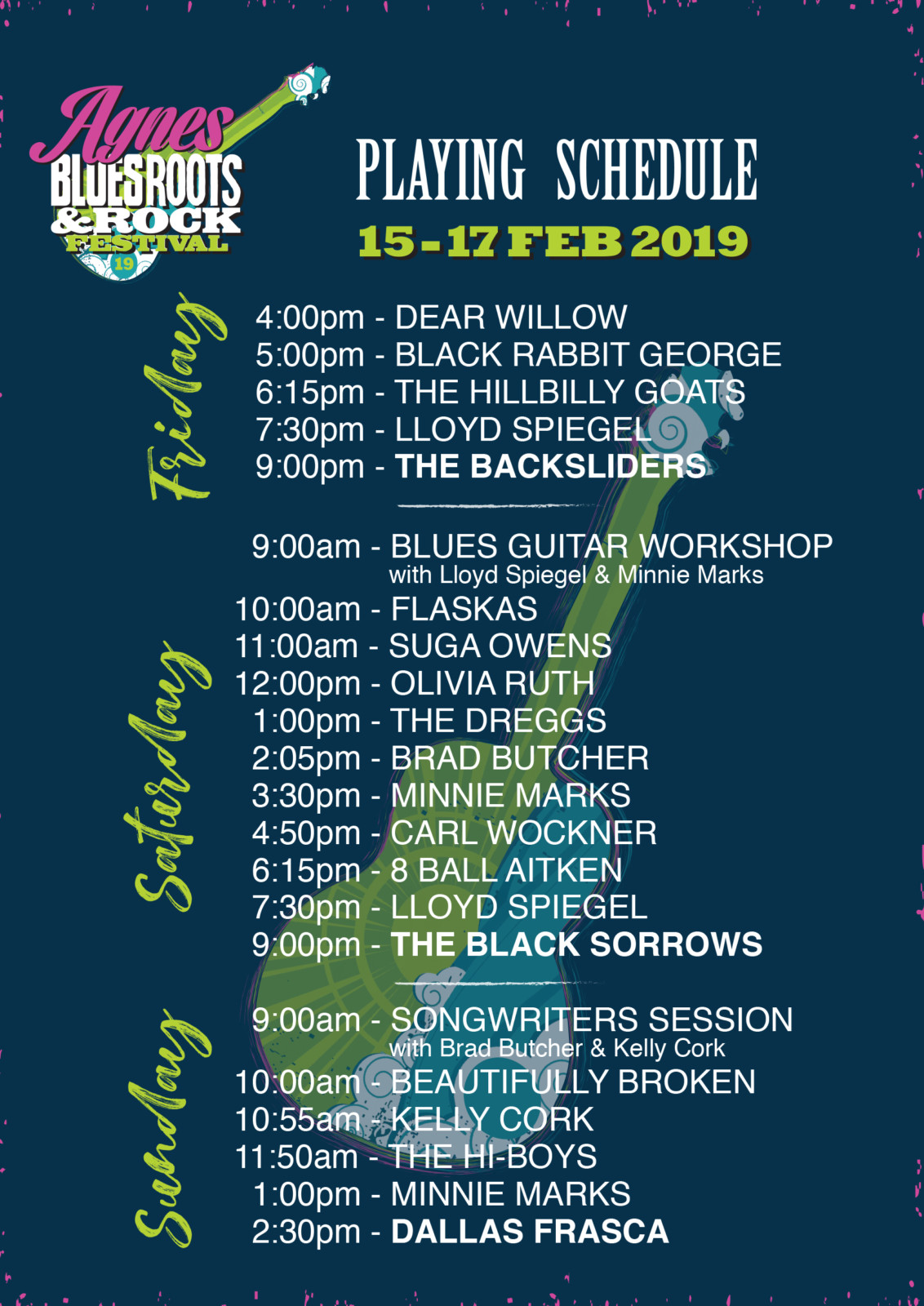Agnes Blues Roots and Rock Festival line up 2019
